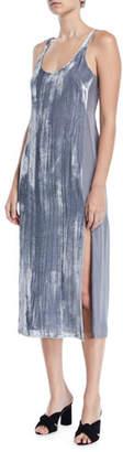 J Brand Alisha Side-Split Velvet Slip Dress