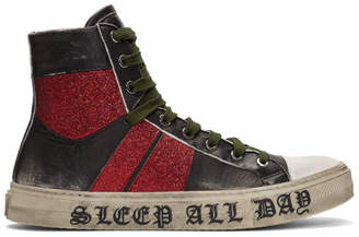 Amiri Black and Red Sleep All Day Party All Night Glitter Sneakers