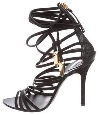 Giambattista Valli Leather Cage Sandals Black Leather Cage Sandals