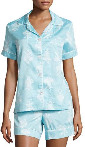 BedHeadBedhead Chandelier-Print Short Pajama Set, Blue