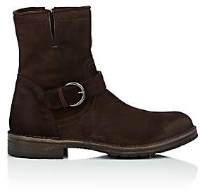 Barneys New York MEN'S WAXED SUEDE MOTO BOOTS - DK. BROWN SIZE 11.5 M