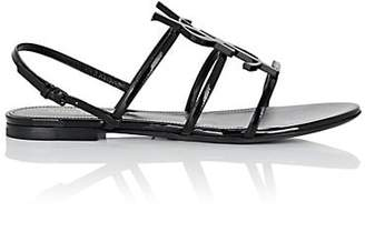 Saint Laurent Women's Cassandra Patent Leather Slingback Sandals - Black