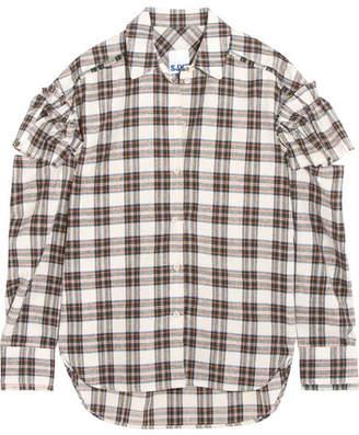Sjyp Cutout Ruffled Plaid Flannel Shirt - Ivory