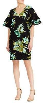 Lauren Ralph Lauren Palm-Print Flutter-Sleeve Shift Dress