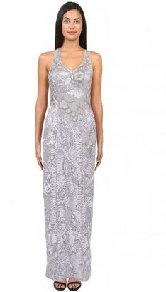Sue Wong - Soutache Embroidered Gown in Platinum Sleeveless Dress $695 thestylecure.com