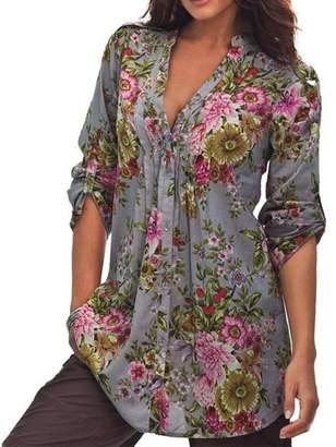 Plus Size Tops Women,Kaifongfu Vintage Floral Print V-neck Tunic Tops Women's Fashion Plus Size Tops (M, )