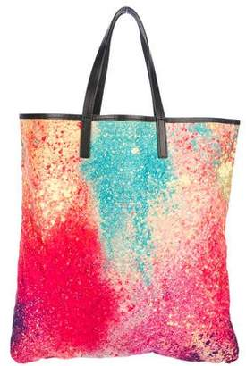 Pleats Please Issey Miyake Leather-Trimmed Tote