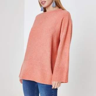 River Island Womens Petite orange tie back sweater