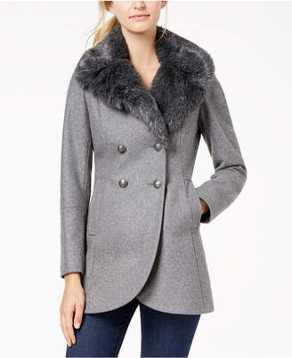 French Connection Double-Breasted Faux-Fur-Collar Peacoat