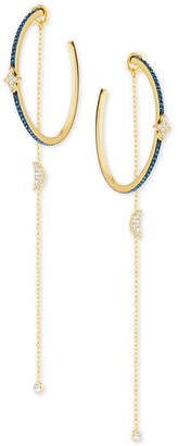 """Swarovski Two-Tone Crystal Moon & Stars 4-1/4"""" Hoop Earrings with Removable Chains"""
