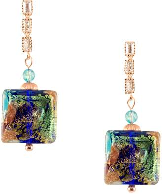 Vicenza Just Give Me Jewels JGMJ Venice Abstract Gold and Copper Fleck Murano Glass Square Bead Dangle Post Earrings