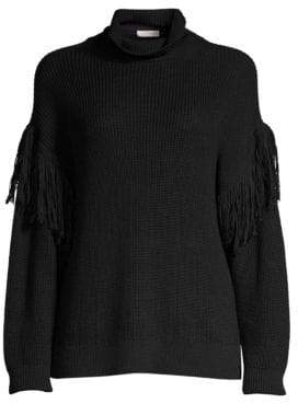 Ramy Brook Women's Grayson Fringe Trim Sweater - Black - Size Small