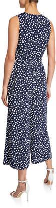 Karl Lagerfeld Paris Sleeveless Polka-Dot Cropped Jumpsuit
