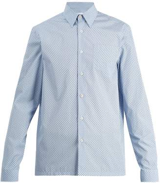 Prada Single-cuff micro-clover print cotton shirt