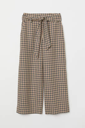 H&M Checked Paper-bag Pants - Beige