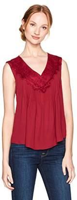 Nanette Lepore Nanette Women's Pintuck Sleeveless Blouse W/Lace