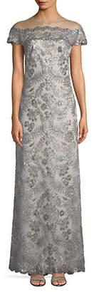 Tadashi Shoji Illusion Sequin Lace Gown