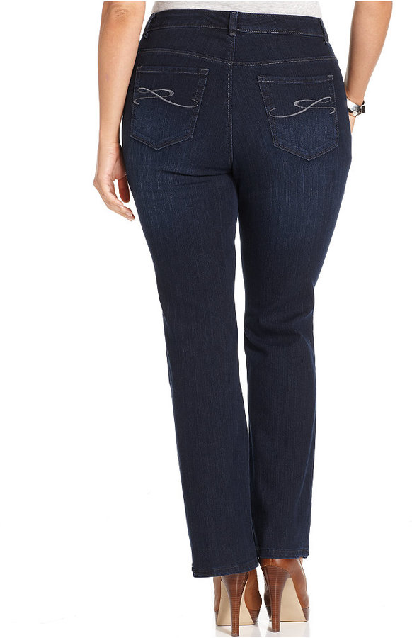 Style&Co. Plus Size Tummy Control Bootcut Jeans, Rinse Wash
