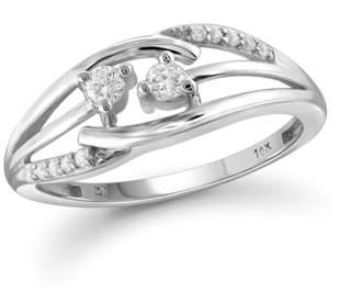 JewelersClub 1/5 Carat T.W. Round-Cut White Diamond 10kt White Gold Two-Stone Ring