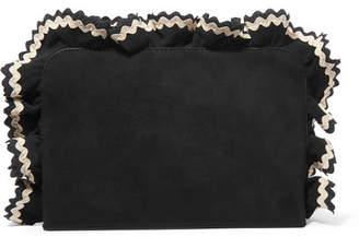 Loeffler Randall Attache Ruffled Rickrack-trimmed Suede Clutch - Black