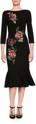 Dolce & Gabbana 3/4-Sleeve Sequined Rose Midi Dress, Black $4,595 thestylecure.com