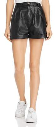 Divine Heritage Faux-Leather Shorts