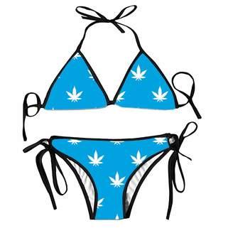 8cf3a7d6e72 Qweer Women Cannabis Leaf Bikini Set Sexy Push up Padded Underwire Bandage Swimsuit  Swimwear Bathing Suit