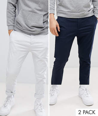 Asos Design 2 Pack Skinny Chinos In Navy & Ice Grey Save
