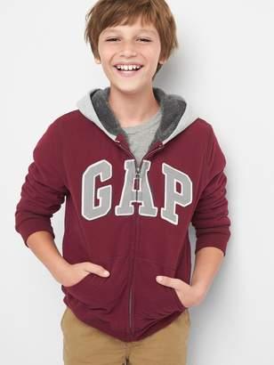 Gap Cozy logo fleece zip hoodie