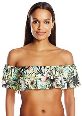 Lucky Brand Junior's Coastal Palms Off The Shoulder Halter Bandeau Bikini Top