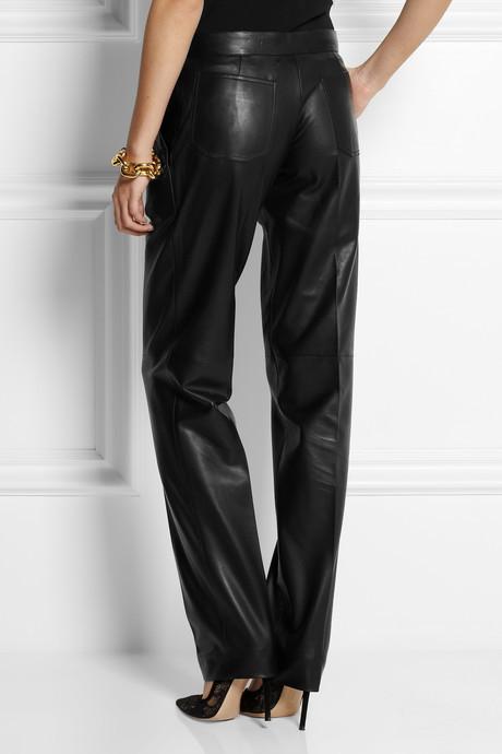 Balmain Leather straight-leg pants