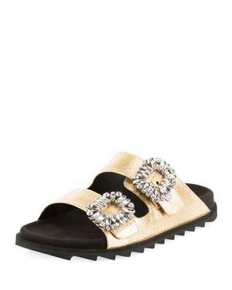 Roger Vivier Slidy Viv Strass-Buckle Metallic Two-Band Slide Sandal