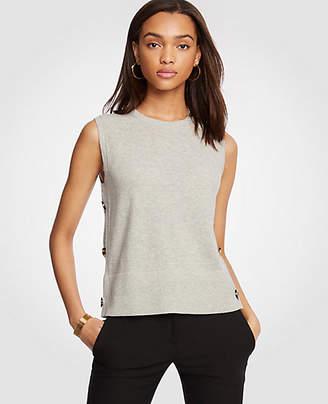 Ann Taylor Petite Side Button Sleeveless Sweater