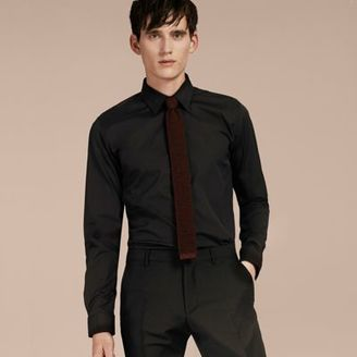 Burberry Slim Fit Stretch Cotton Shirt $325 thestylecure.com
