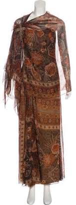 Reem Acra Printed Evening Dress