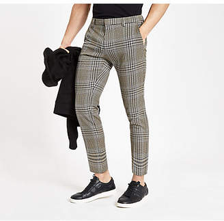 River Island Brown check skinny fit crop smart pants
