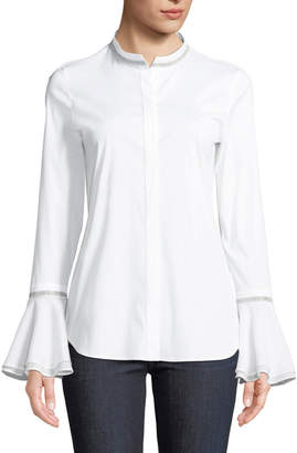 Lafayette 148 New York Thayer Italian Stretch-Cotton Blouse