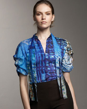 Akris Abstract-Print Blouse