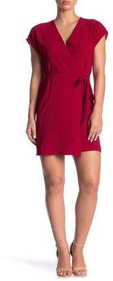 Bobeau Cap Sleeve Crepe Wrap Dress (Petite)