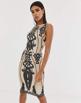 82bd65d8 Goddiva high neck placement sequin midi dress in taupe and black