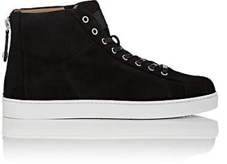 Gianvito Rossi Men's Back-Zip Suede Sneakers - Black