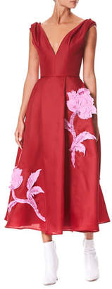 Carolina Herrera V-Neck Sleeveless Floral-Embroidered Tea-Length Cocktail Dress