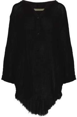 Enza Costa Draped Frayed Cotton-Gauze Tunic