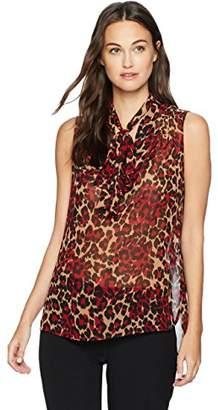 Anne Klein Women's Animal Print Tie Front Sleeveless Blouse