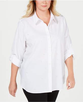 Calvin Klein Plus Size Faux-Pearl-Stud Boyfriend Shirt