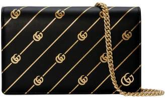 Gucci Mini leather chain bag with Double G stripe