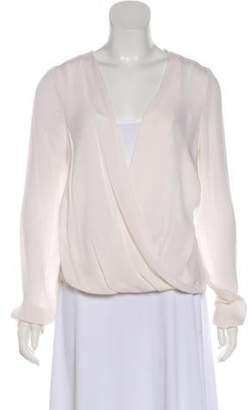 A.L.C. Long Sleeve Silk Top Cream Long Sleeve Silk Top