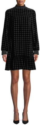 Emporio Armani Zip-Collar Long-Sleeve Dotted Velvet Burnout Trapeze Dress
