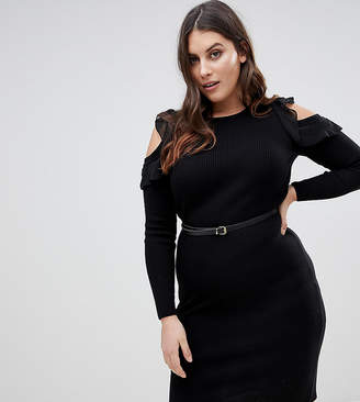 Lipsy Curve Knitted Midi Dress With Frill Detail