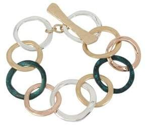 Robert Lee Morris Soho Hearts Tri-Tonal and Patina Circle Bracelet